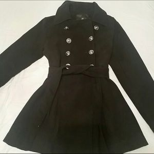 Jackets & Blazers - Iris Basic Black Peacoat w/ Dark Silver Buttons